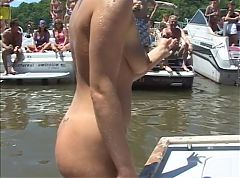 Pierced pussy makes cocks hard on boat