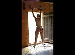 Restraining and spanking my wife at a cabin in the woods